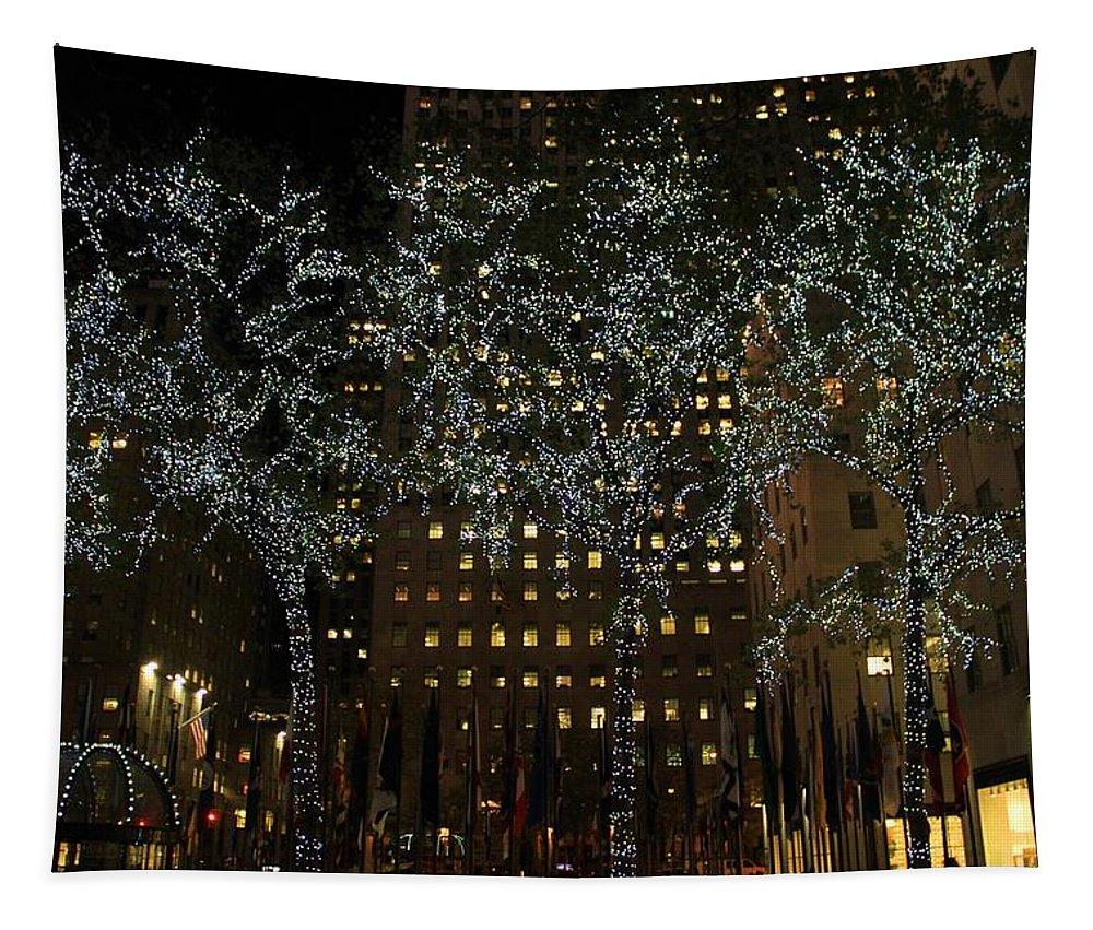 Lights In Rockefeller Center Tapestry featuring the photograph Lights In Rockefeller Center by Dan Sproul