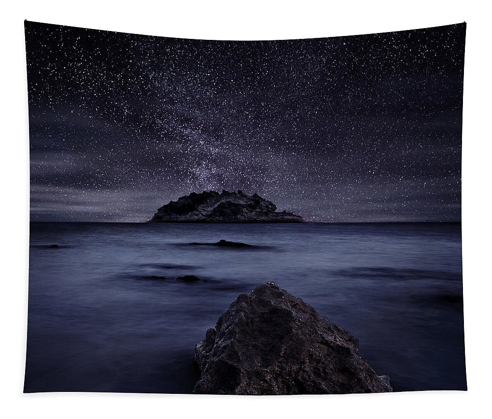 Night Tapestry featuring the photograph Lights of the past by Jorge Maia