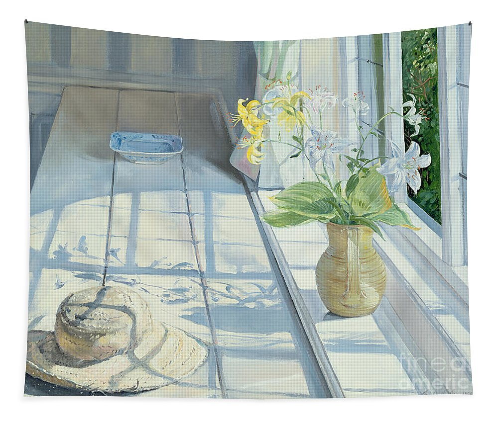 Window Tapestry featuring the painting Lilies And A Straw Hat by Timothy Easton