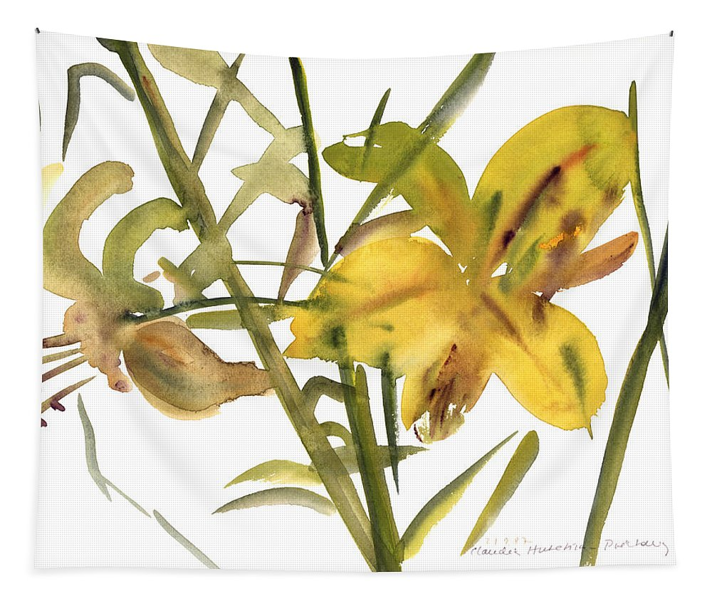 Lily Tapestry featuring the painting Lilies by Claudia Hutchins-Puechavy