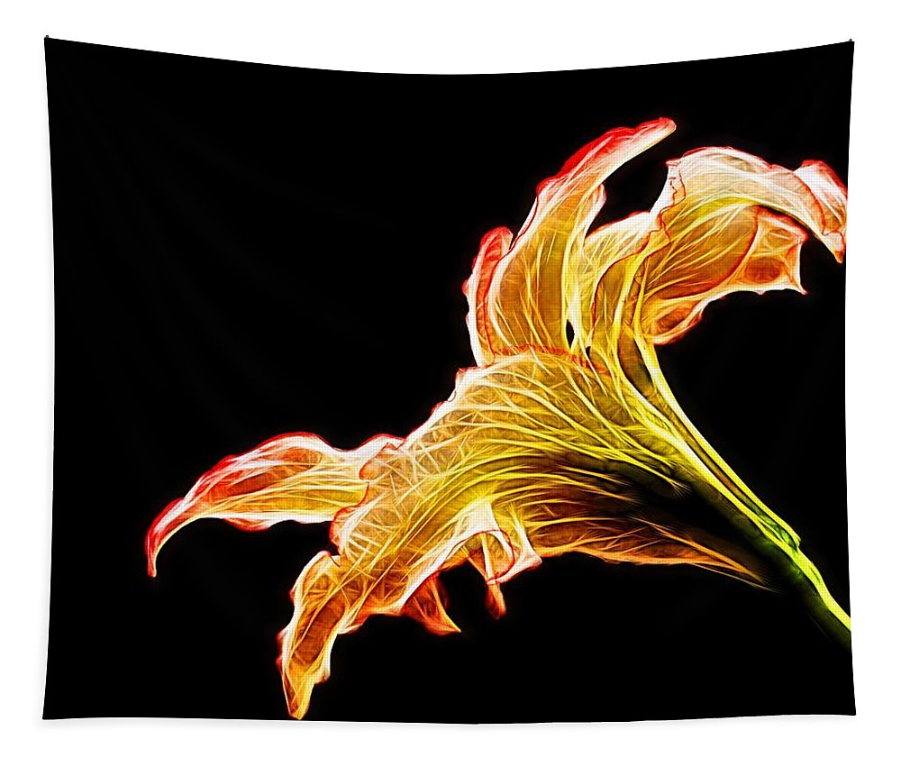 Abstract Tapestry featuring the photograph Lily Glow by Judy Vincent