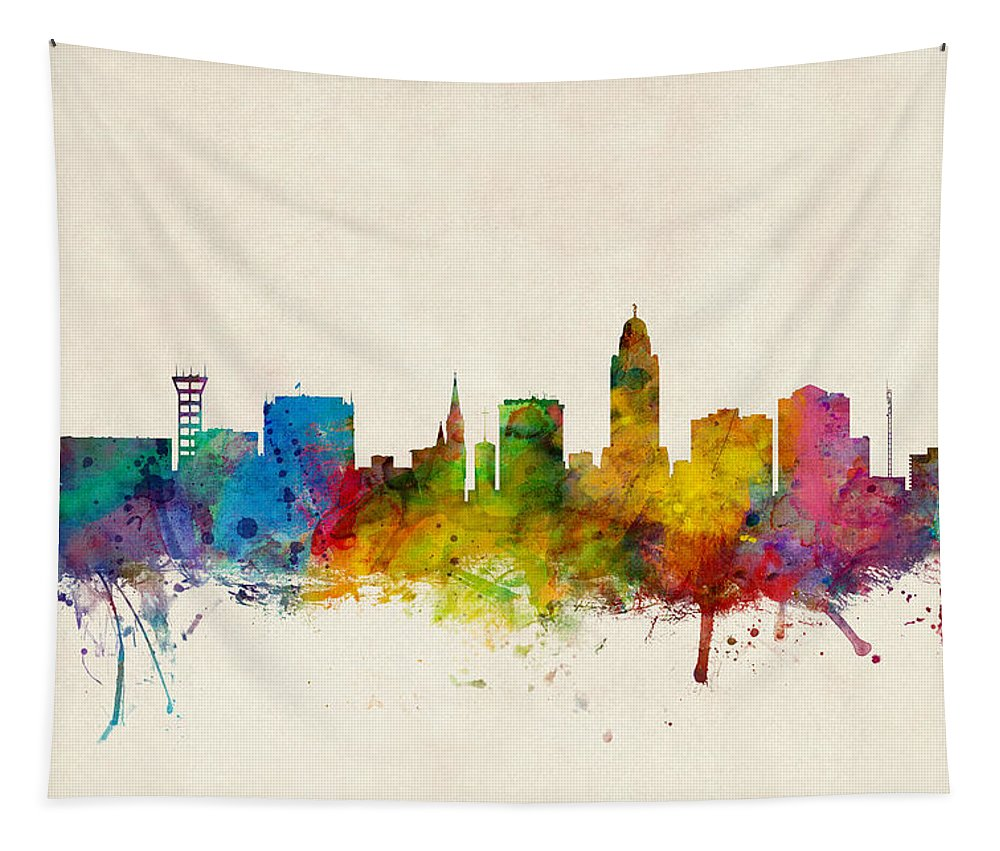 City Tapestry featuring the digital art Lincoln Nebraska Skyline by Michael Tompsett