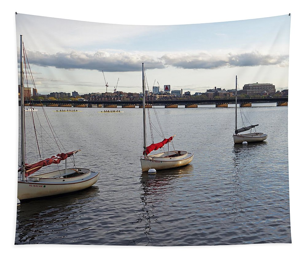 Boston Tapestry featuring the photograph Line Of Boats On The Charles River by Toby McGuire