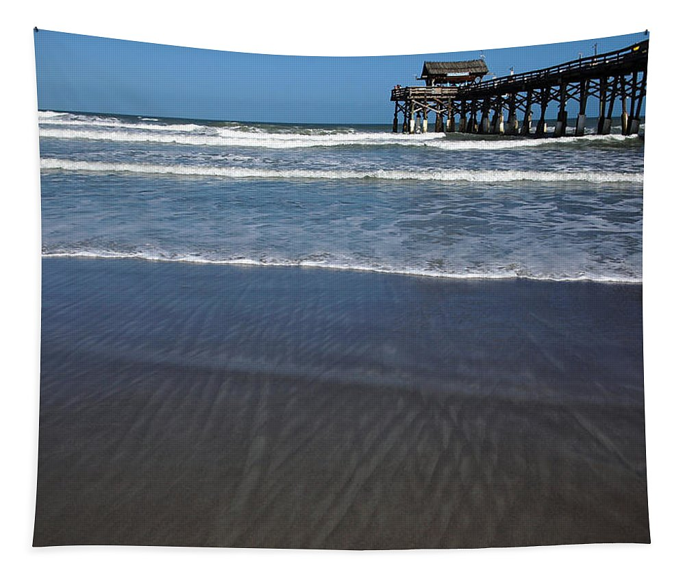 Cocoa Beach Pier Tapestry featuring the photograph Lines In The Sand by Debbie Oppermann