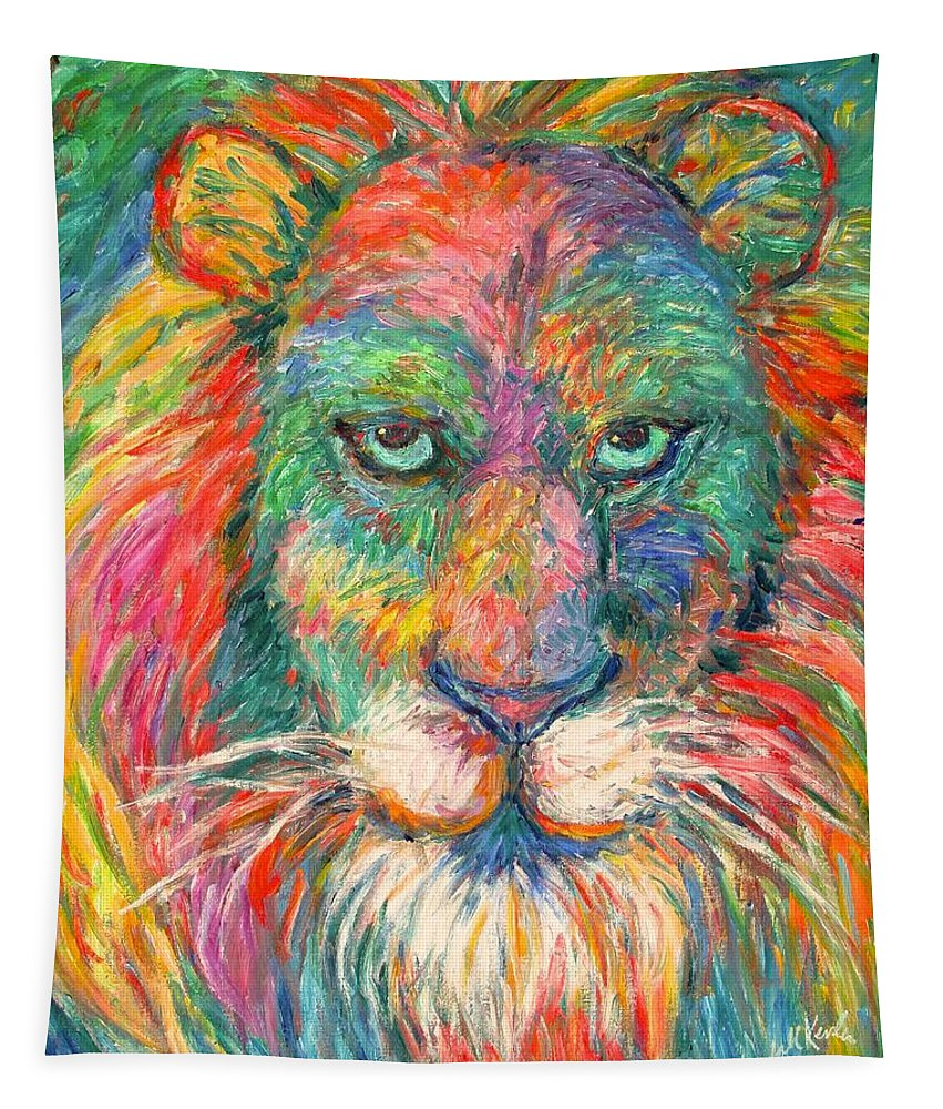 Abstract Lion Tapestry featuring the painting Lion Explosion by Kendall Kessler