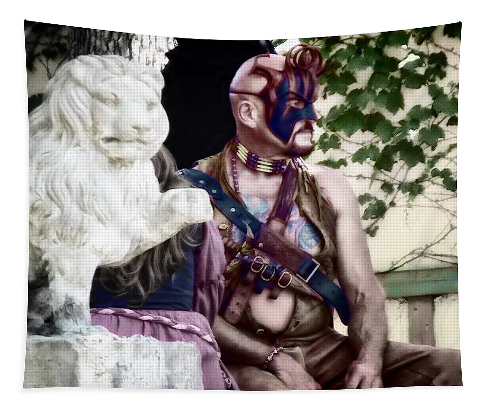 Male Tapestry featuring the photograph Lion Man by Thomas Woolworth