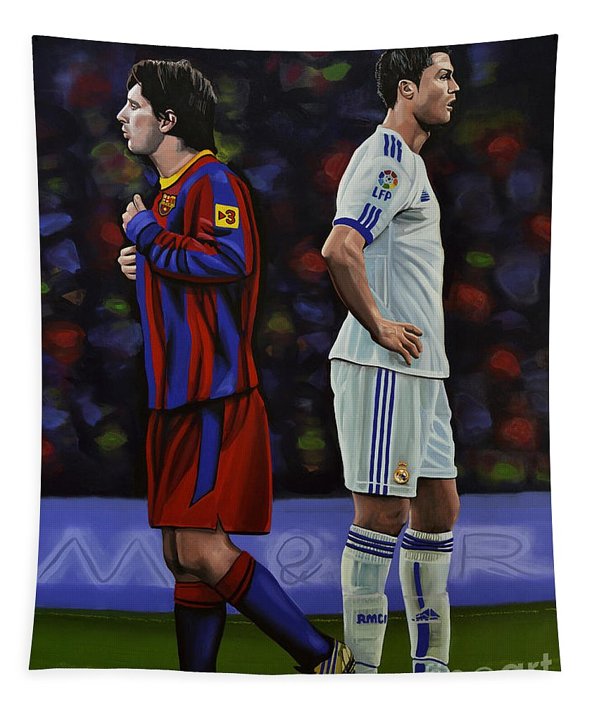 Lionel Messi Tapestry featuring the painting Lionel Messi and Cristiano Ronaldo by Paul Meijering