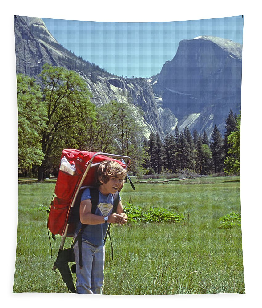 Matthew Cooper Tapestry featuring the photograph Mp-441-little Boy Big Pack by Ed Cooper Photography