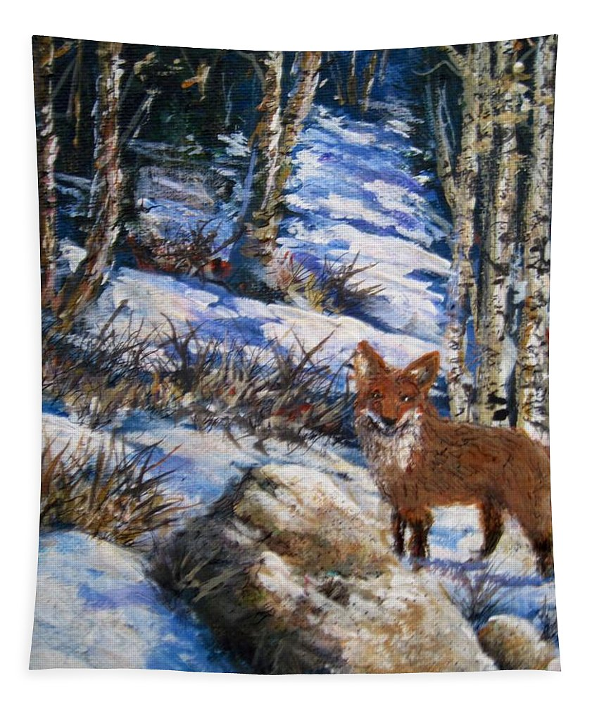 Nature Tapestry featuring the painting Little Fox by Megan Walsh