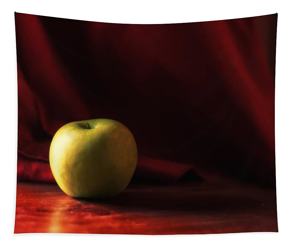 Apple Tapestry featuring the photograph Little Green Apple by Susan Capuano