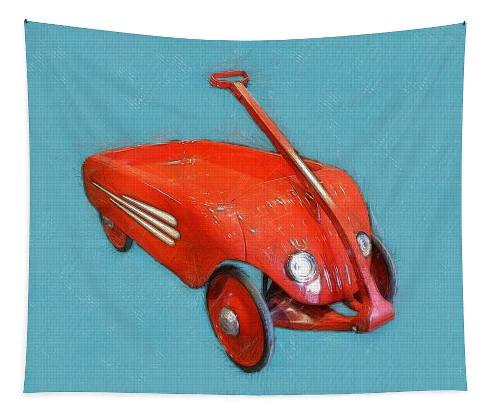 Wagon Tapestry featuring the photograph Little Red Wagon by Michelle Calkins