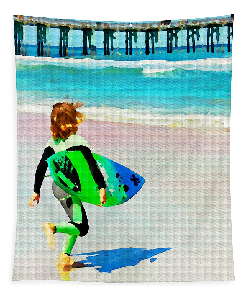 Surfer Boy Beach Ocean Flagler Beach Florida Surfboard Alicegipsonphotographs Tapestry featuring the photograph Little Surfer Dude by Alice Gipson