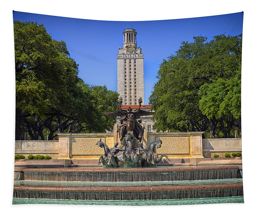 Littlefield Fountain Tapestry featuring the photograph Littlefield Fountain - University Of Texas by Mountain Dreams