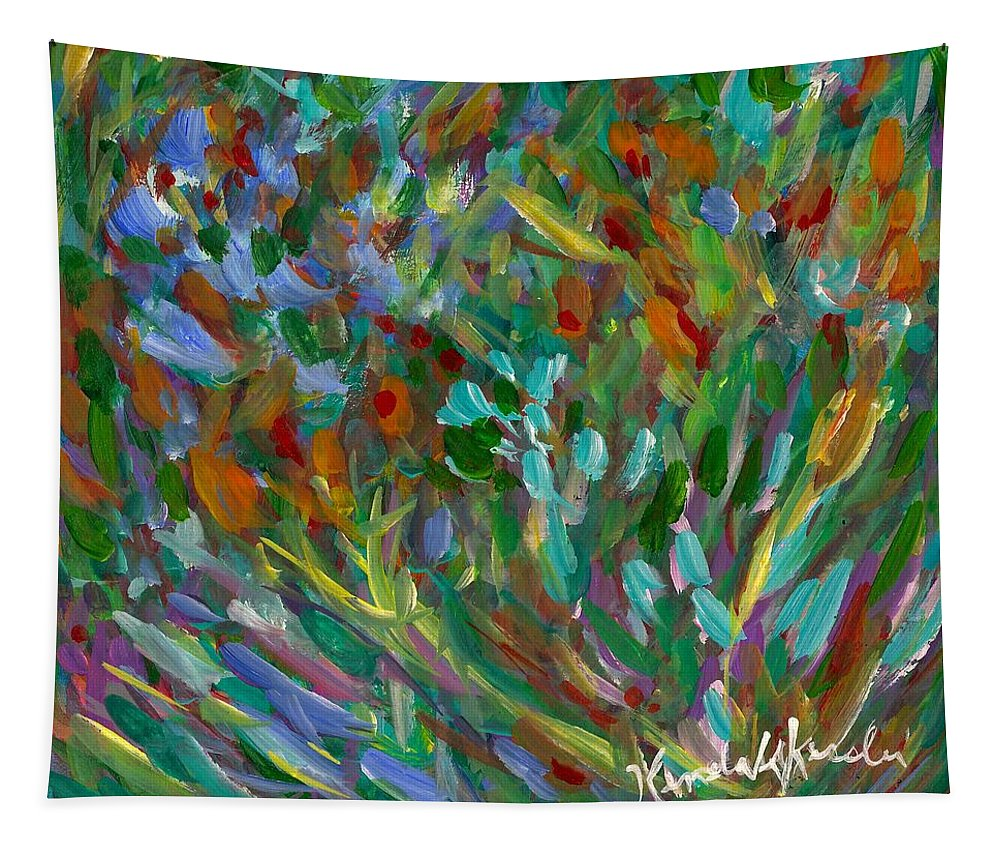 Abstract Tapestry featuring the painting Lively by Kendall Kessler