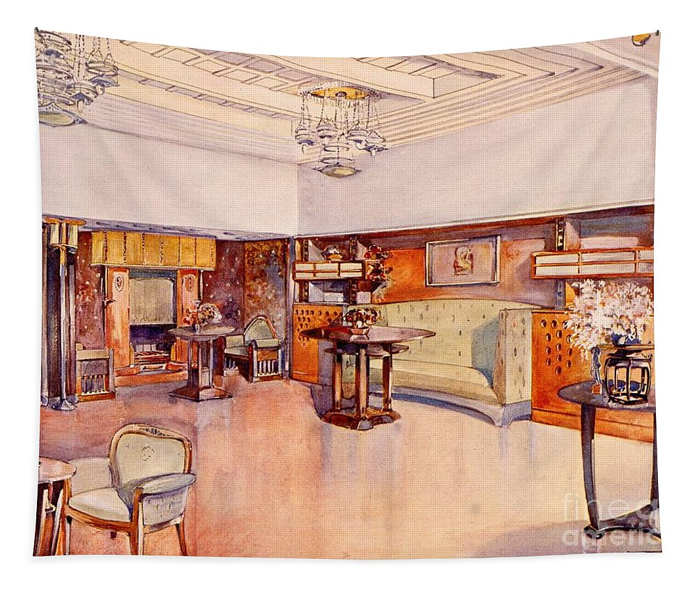 Living Room Tapestry featuring the drawing Living Room, 1905 by Alfred Grenander