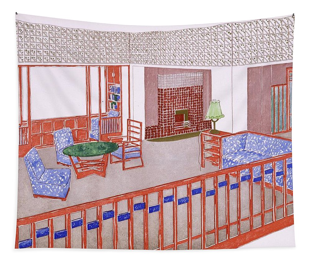 Living Room Tapestry featuring the drawing Living Room, Early 1900s by Leopold Bauer