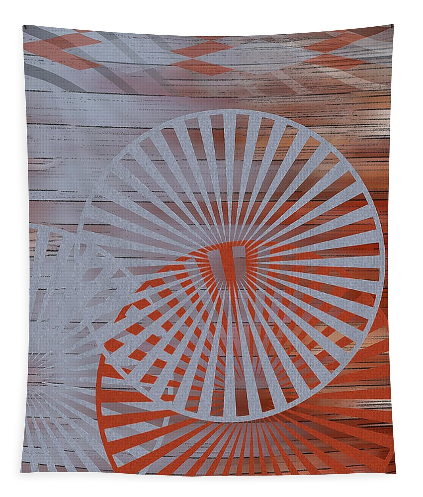 Geometric Abstract Tapestry featuring the digital art Living Spaces No 1 by Ben and Raisa Gertsberg