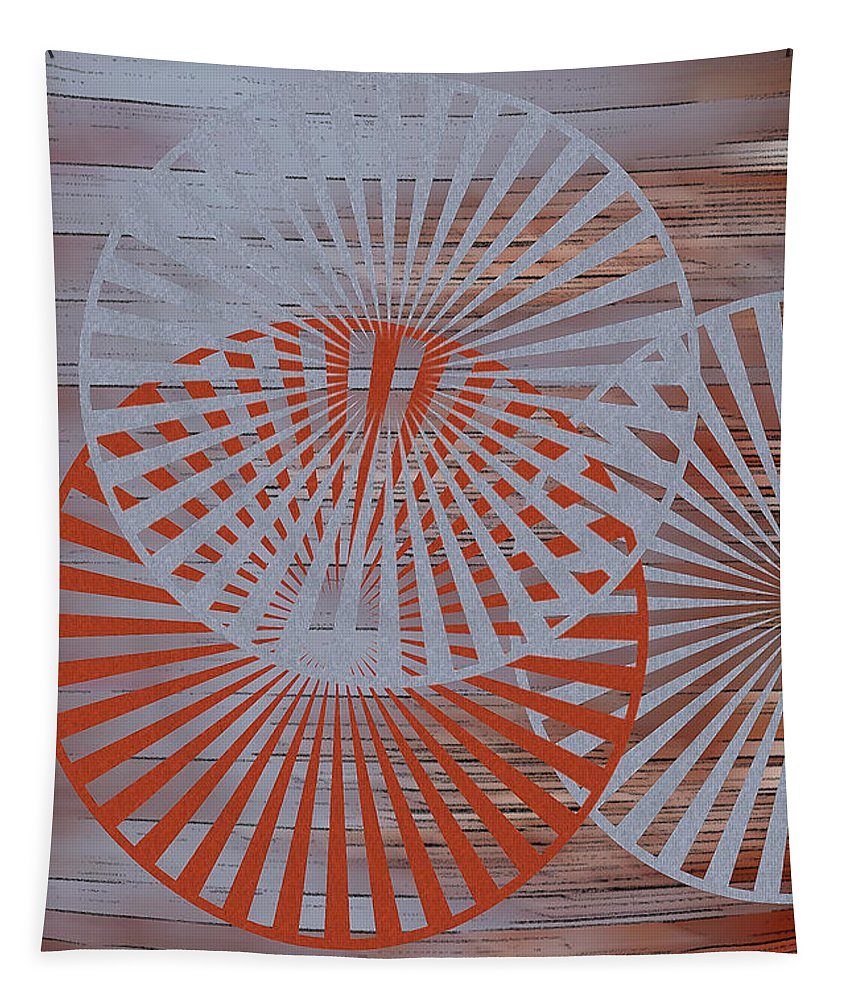 Geometric Abstract Tapestry featuring the digital art Living Spaces No 2 by Ben and Raisa Gertsberg