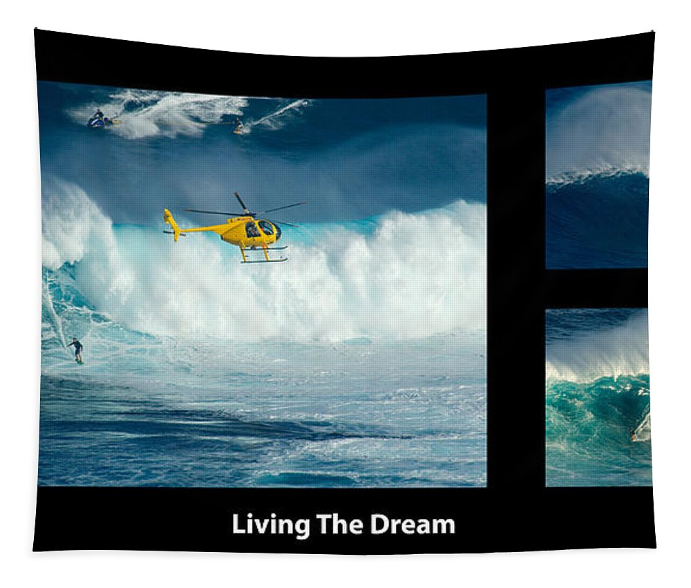Surfing Tapestry featuring the photograph Living The Dream With Caption by Bob Christopher