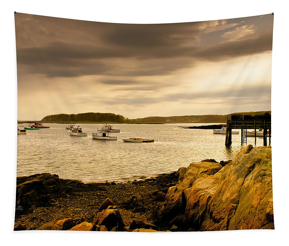 Atlantic Ocean Tapestry featuring the photograph Lobster Boats Cape Porpoise Maine by Bob Orsillo