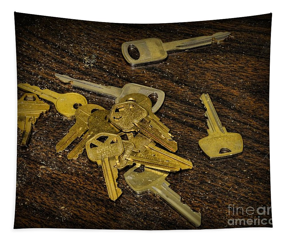 Paul Ward Tapestry featuring the photograph Locksmith - Rejected Keys by Paul Ward