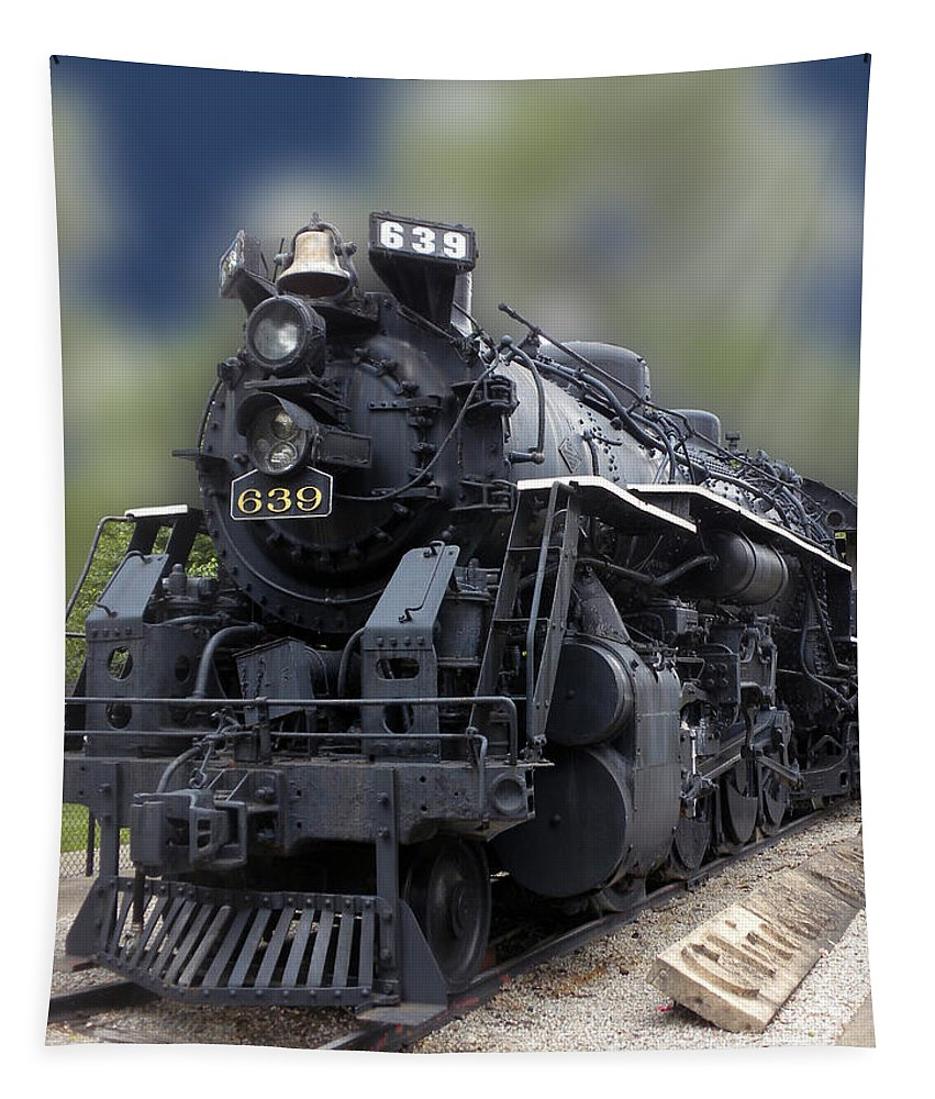 Railroad Tapestry featuring the photograph Locomotive 639 Type 2 8 2 Front And Side View by Thomas Woolworth
