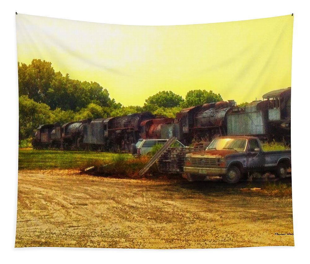 Transportation Tapestry featuring the photograph Locomotive Graveyard by Thomas Woolworth