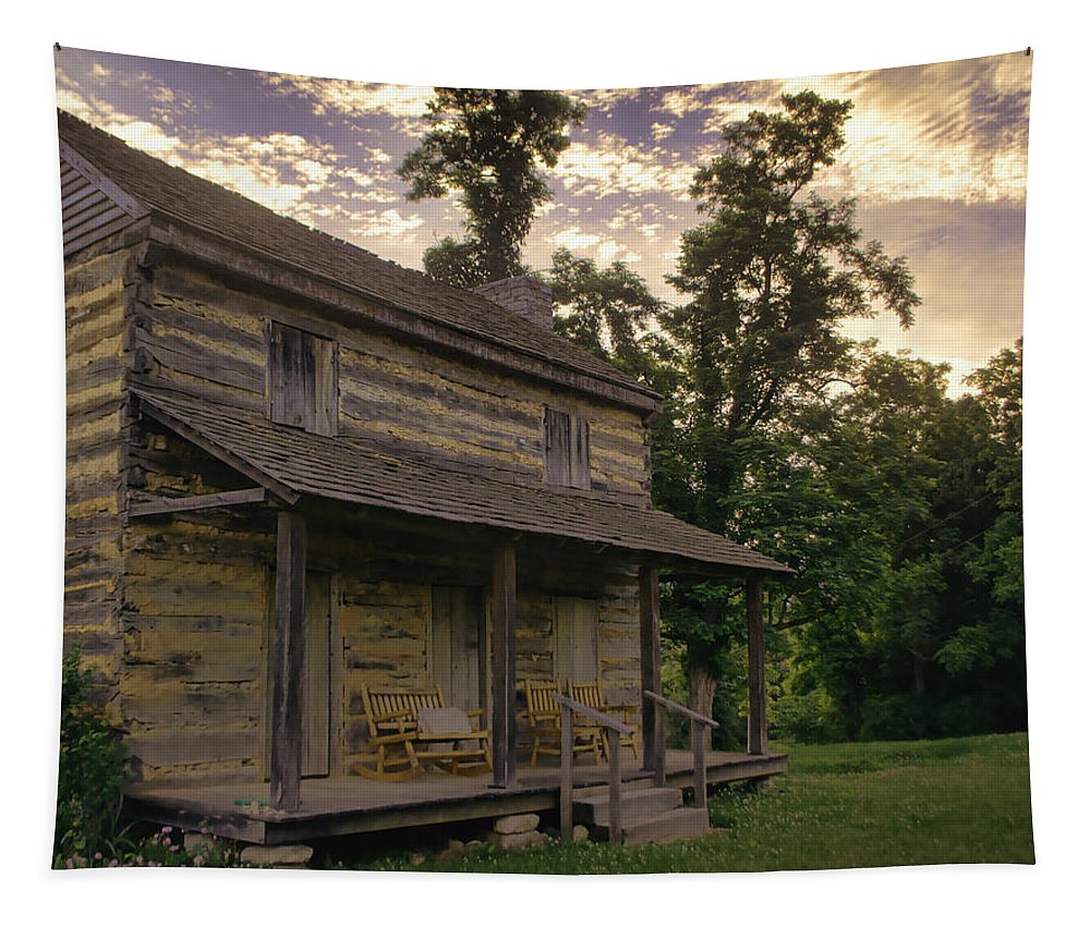 Log Cabin Tapestry featuring the photograph Log House Dusk by Heather Applegate