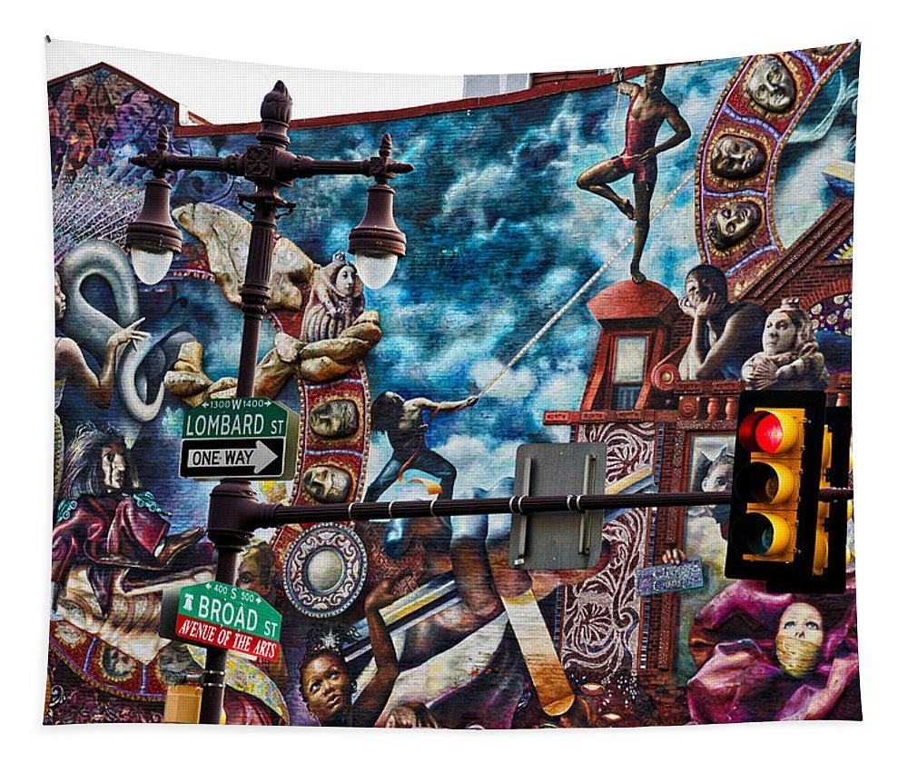 Philadelphia Mural Tapestry featuring the photograph Lombard and Broad by Alice Gipson