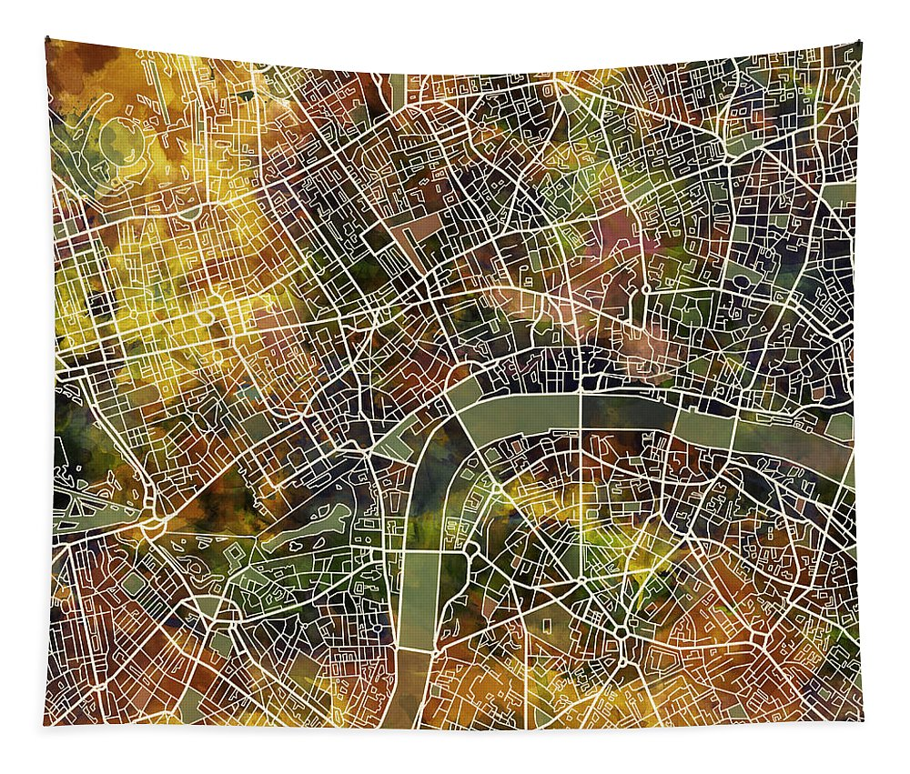 London Tapestry featuring the painting London Map Brown by Bekim Art