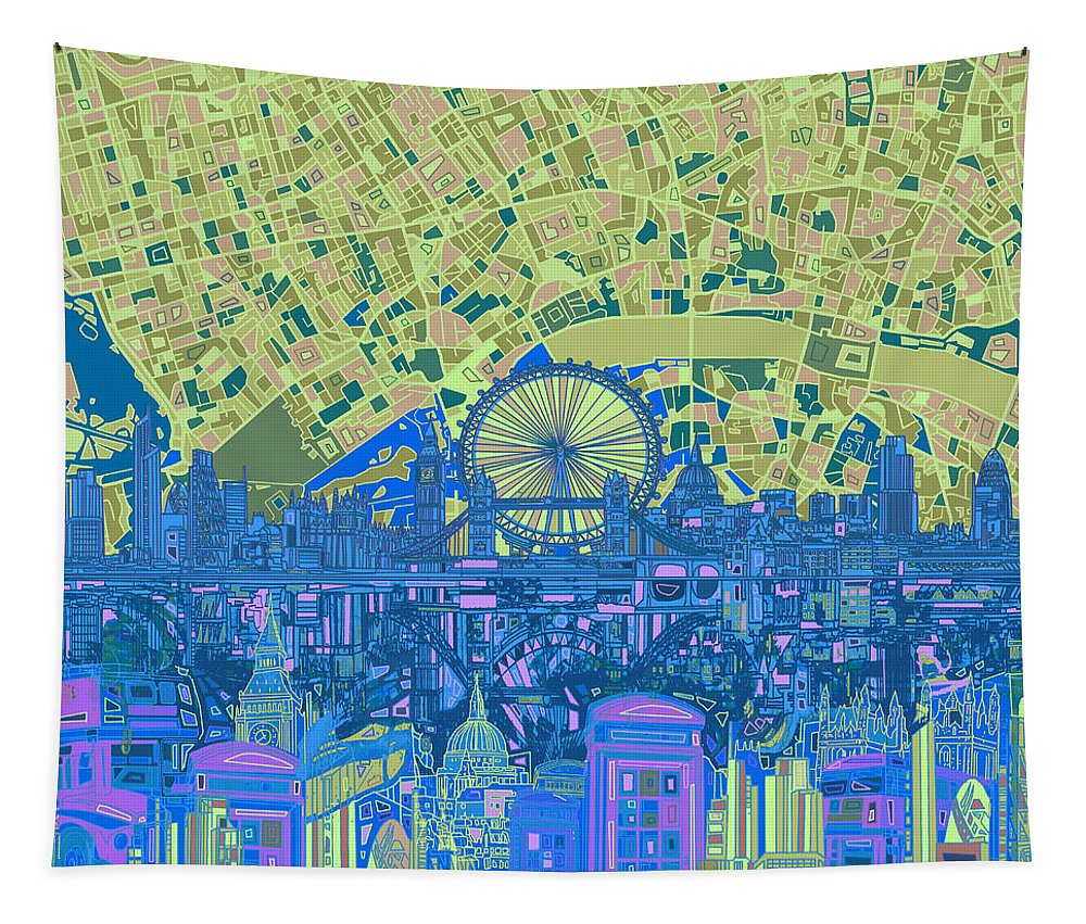 London Tapestry featuring the painting London Skyline Abstract 8 by Bekim Art