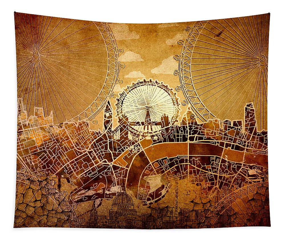 London Tapestry featuring the painting London Skyline Old Vintage by Bekim Art