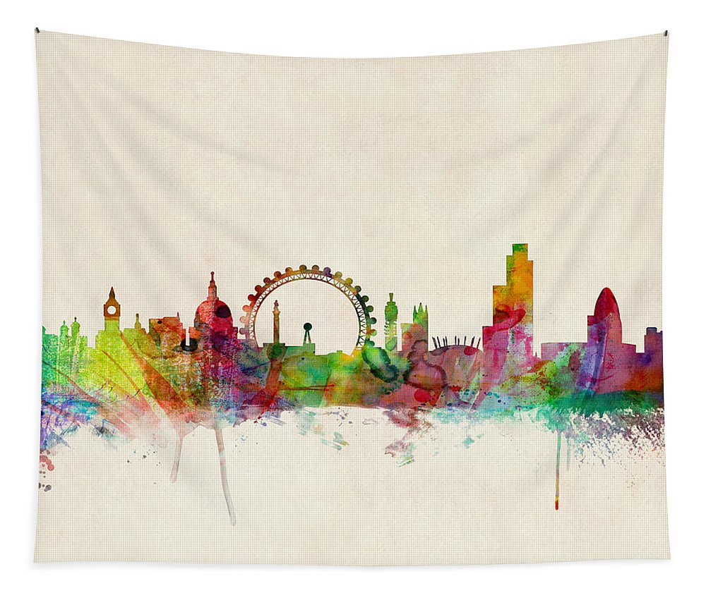 London Tapestry featuring the digital art London Skyline Watercolour by Michael Tompsett