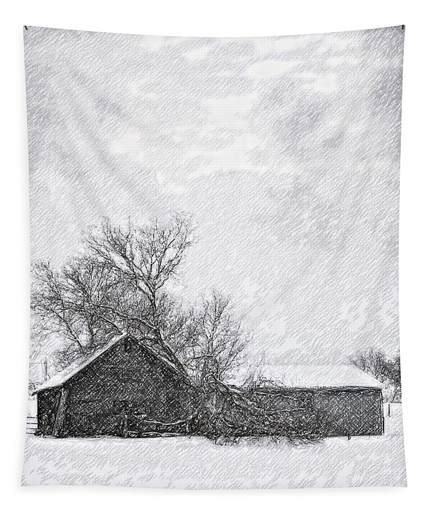 Snow Tapestry featuring the photograph Loneliness Sketch by Steve Harrington