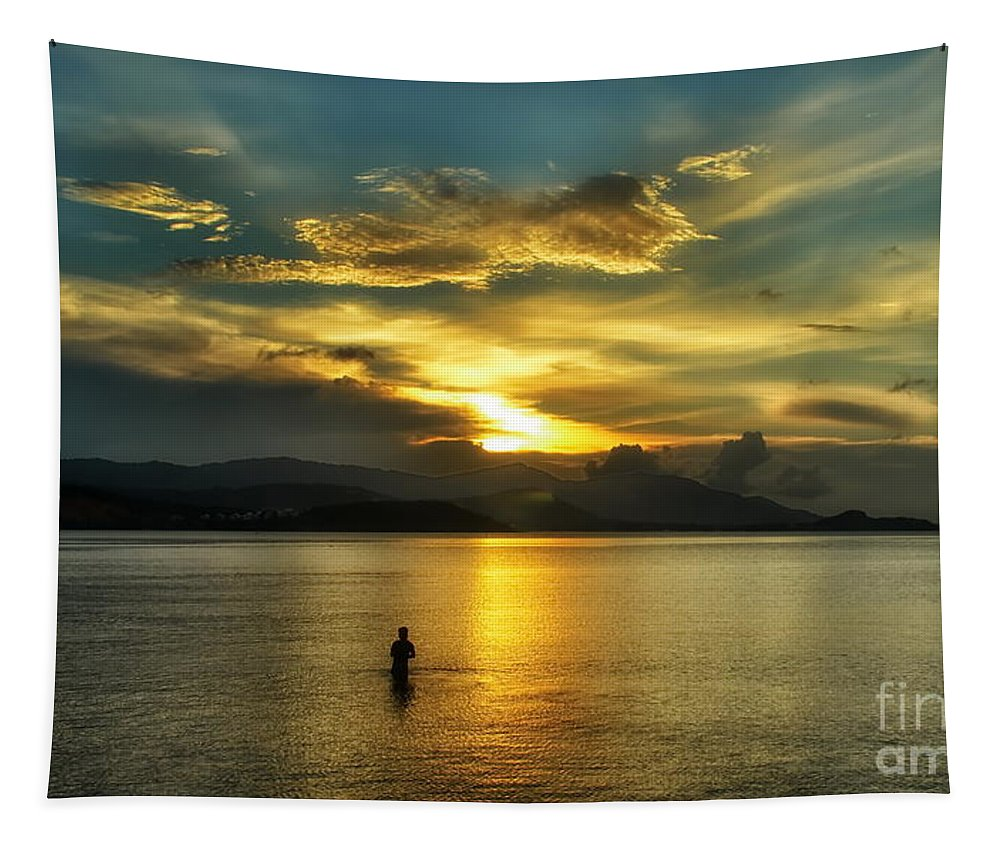Michelle Meenawong Tapestry featuring the photograph Lonely Fisherman by Michelle Meenawong