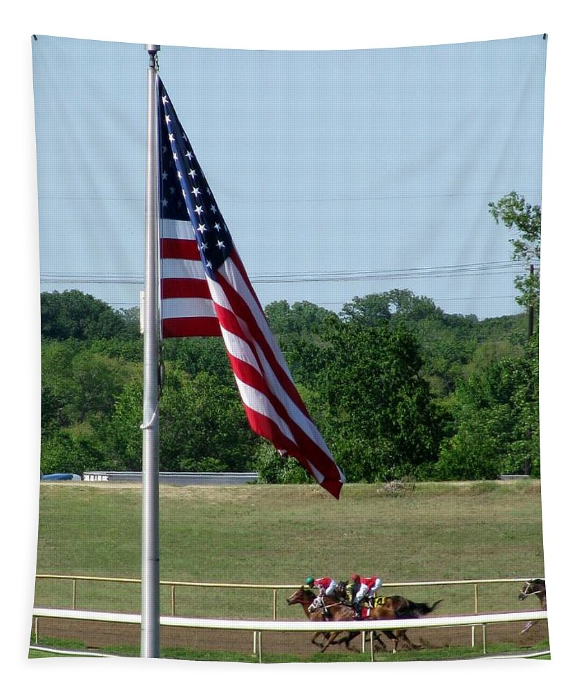 Horse Racing Tapestry featuring the photograph Lonestar Park - Backstretch 01 by Pamela Critchlow