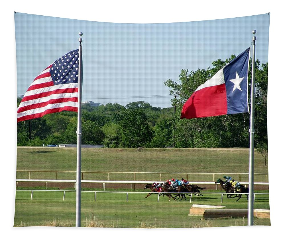 Horse Racing Tapestry featuring the photograph Lonestar Park - Backstretch 03 by Pamela Critchlow
