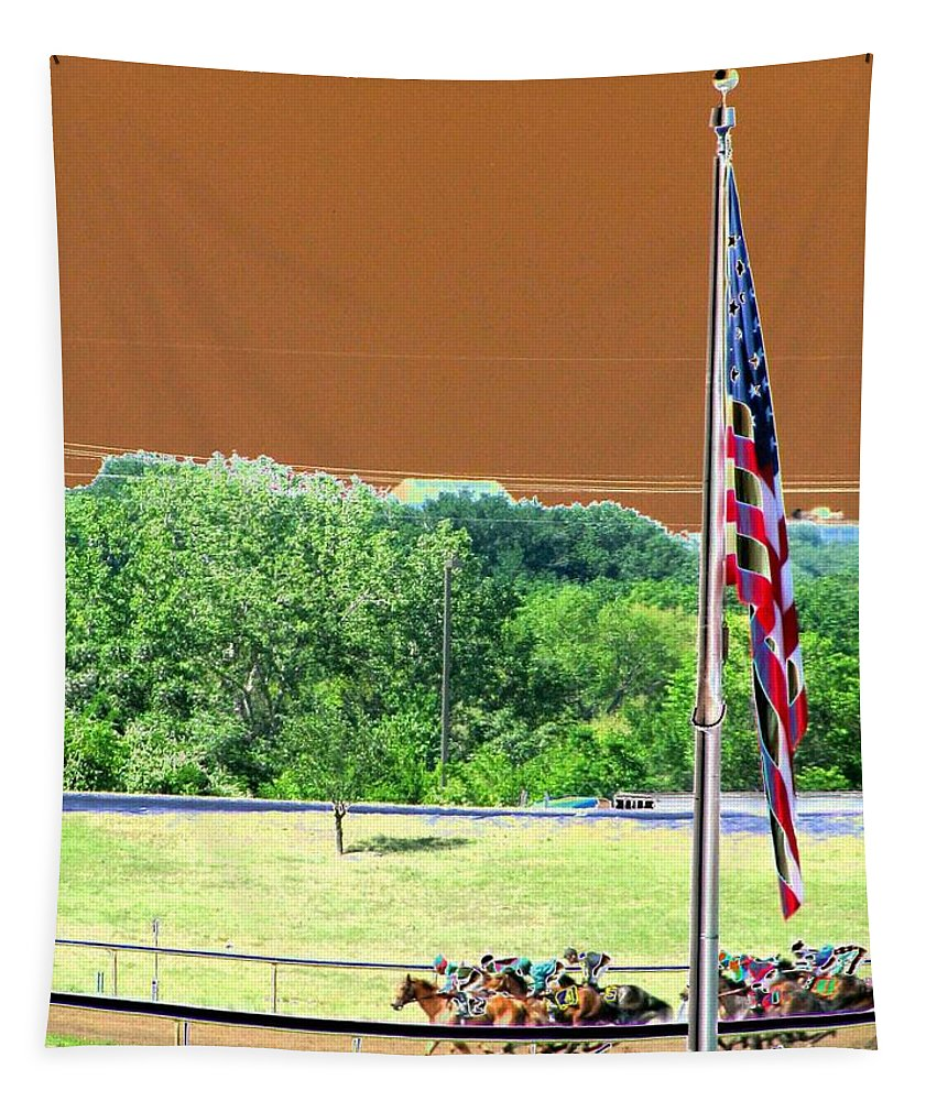 Horse Racing Tapestry featuring the photograph Lonestar Park - Backstretch - Photopower 2204 by Pamela Critchlow
