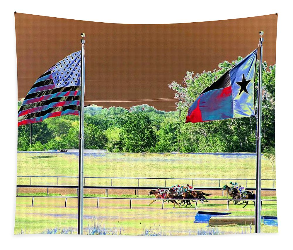 Horse Racing Tapestry featuring the photograph Lonestar Park - Backstretch - Photopower 2205 by Pamela Critchlow