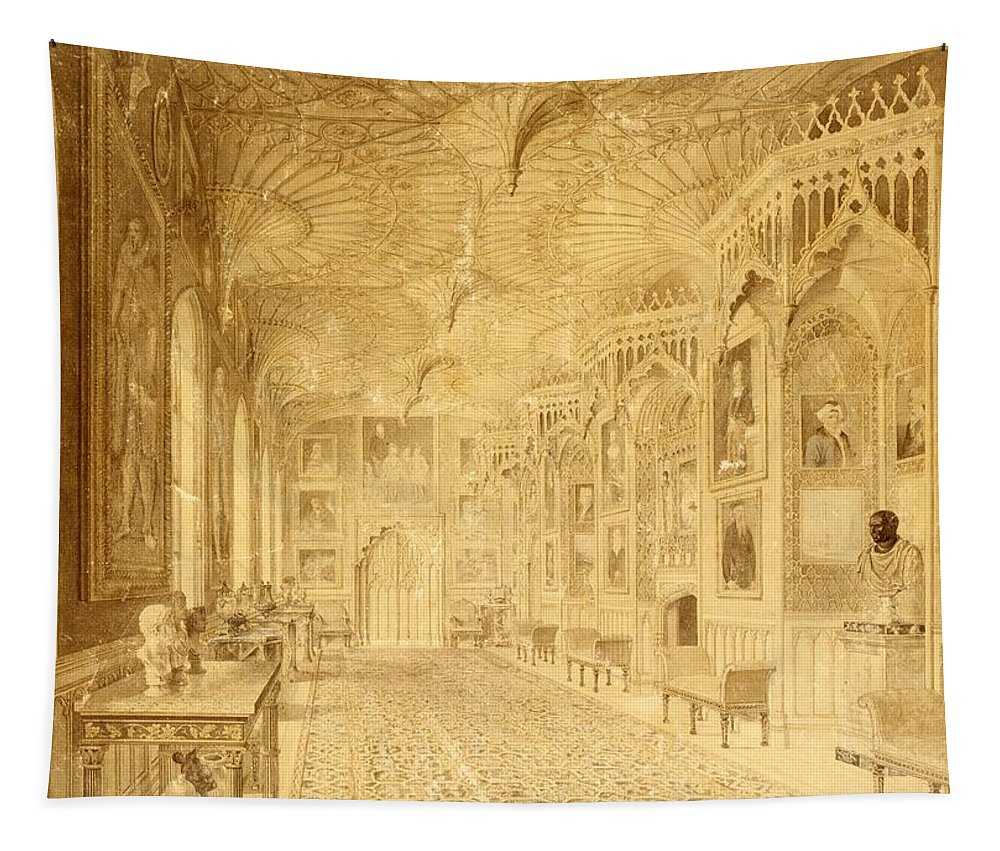 Gothic Tapestry featuring the painting Long Gallery At Strawberry Hill by Thomas Sandby