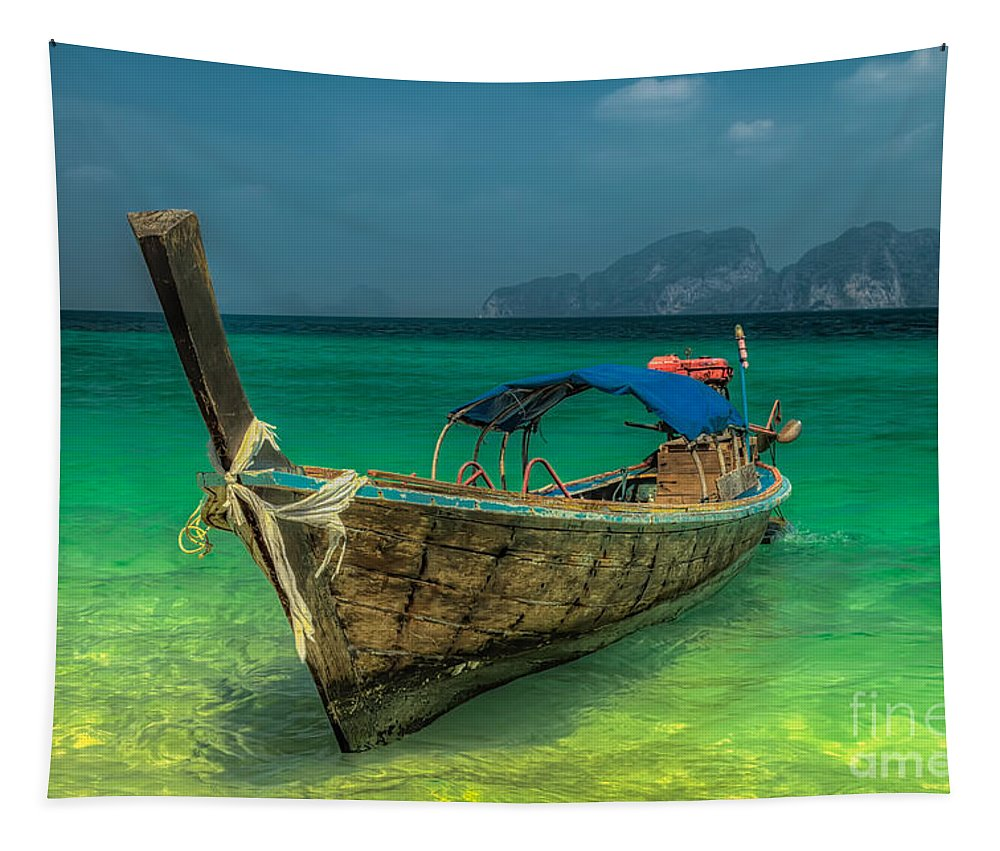 Boat Tapestry featuring the photograph Longboat by Adrian Evans
