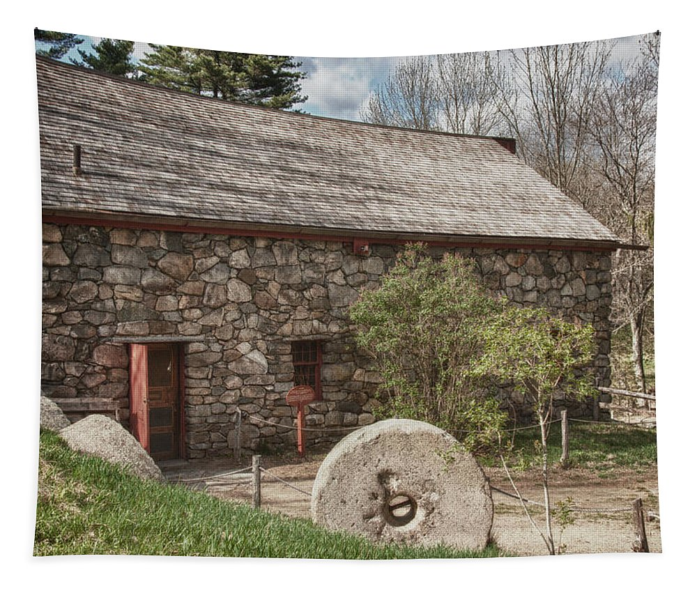 longfellow's Wayside Inn Grist Mill Tapestry featuring the photograph Longfellow's Wayside Inn Grist Mill by Jeff Folger