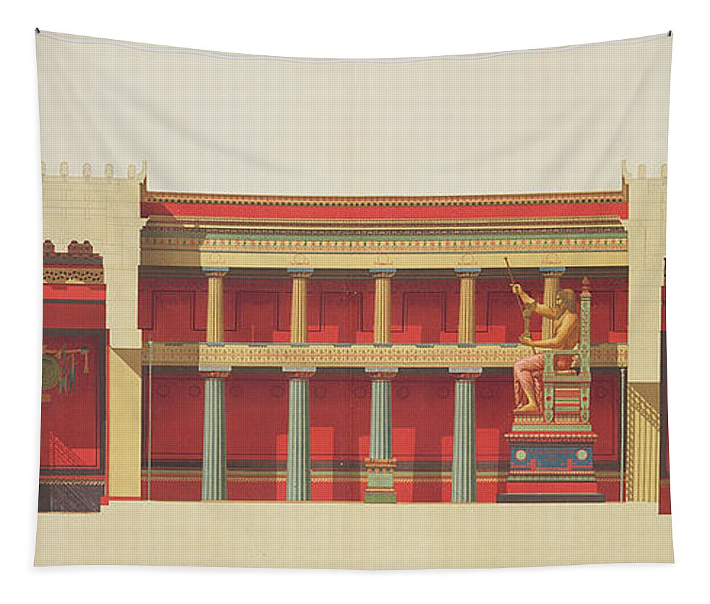 Cross-section Tapestry featuring the drawing Longitudinal Section Of The Temple by Daumont