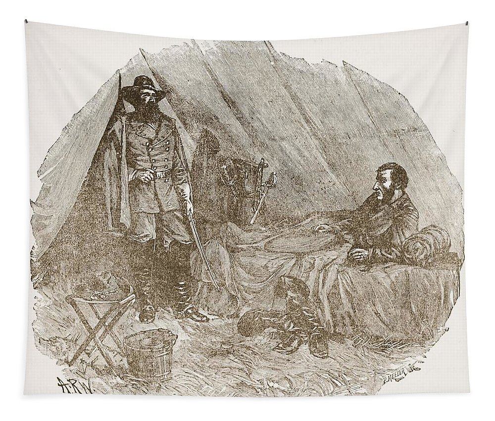 Tent Tapestry featuring the drawing Longstreet Reporting At Braggs by Alfred R. Waud