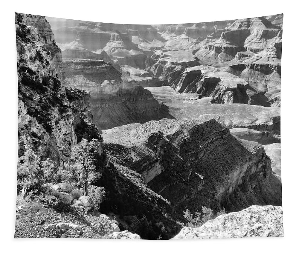 Black And White Layers Of Grand Canyon Tapestry featuring the photograph Looking Down On Grand Canyon by Dan Sproul