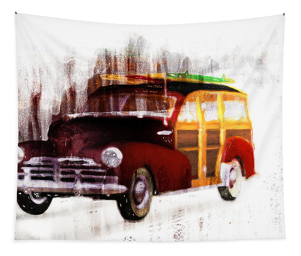Woody Tapestry featuring the painting Looking For Surf City by Bob Orsillo