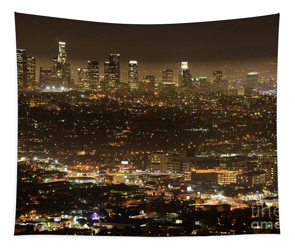 Los Angeles Tapestry featuring the photograph Los Angeles At Night by Bob Christopher