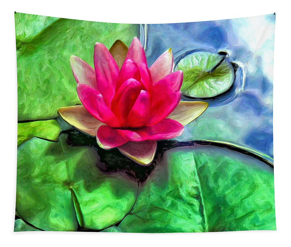 Lotus Blossom Tapestry featuring the painting Lotus Blossom And Cloud Reflection by Dominic Piperata