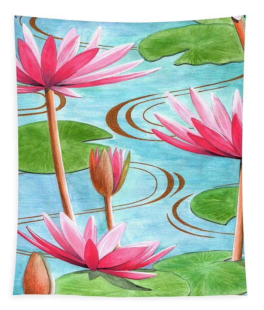 Flowers Tapestry featuring the painting Lotus Flower by Jenny Barnard