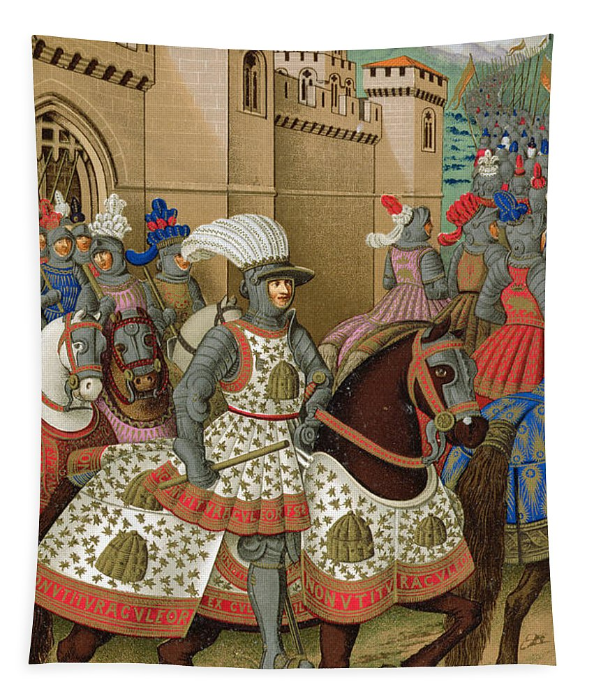 Suppressed Revolt In Genoa Tapestry featuring the drawing Louis Xii Leaving Alexandria by Jean Marot